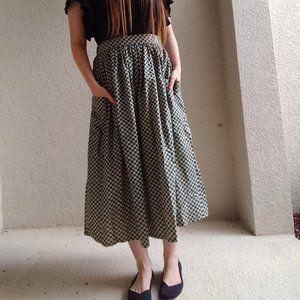 Vintage Handmade Green & Cream Heart Print Skirt